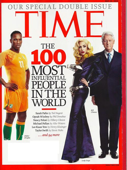 ▲ 타임지가 선정한 2010년 세계에서 가장 영향력 있는 사람 100명안에 뽑힌 드로그바. 타임지 커버 모델로 스포츠 선수가 나온 것은 마이클 조단, 무하마드 알리 등 소수에 불과하다.