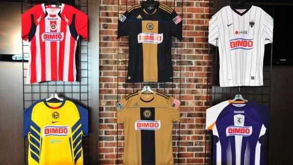 ▲ 스폰서 빔보를 새긴 여러 축구 클럽의 셔츠.
