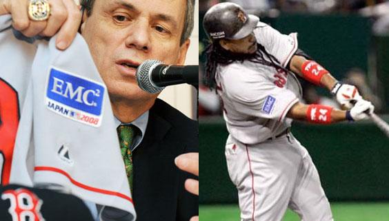 ▲ 보스턴 레드삭스는 2008년 일본에서 열린 MLB개막전에서 팀 역사상 처음으로 스폰서 로고를 소매에 부착하였다.
