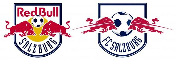 ▲ FC 레드불 잘츠부르크의 로고(좌). 유럽클럽 대항전에서는 레드불이라는 기업명을 사용할 수 없는 관계로 이 클럽은 대신 FC 잘츠부르크 로고를 사용한다.