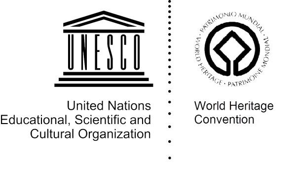 유네스코 로고(사진 왼쪽)와 유네스코 문화유산 로고. 그리스 파르테논 신전을 바탕으로 했다.