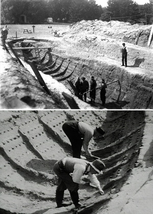6-7세기 유물이 발견된 서튼 후 선박 유적지 실제 발굴 모습 (1939년). 영국의 독자적인 중세 문화를 대변하는 유물들이 영국박물관 가장 좋은 자리에 진열되어 있다.